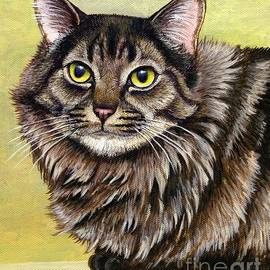 Long Haired Brown Tabby Cat by Rebecca Wang