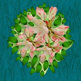 Lotus bloom in the blue sea of peacefulness by Pepita Selles