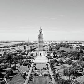 Louisiana State Capitol on the Bank of the Mississippi River - BW by Scott Pellegrin