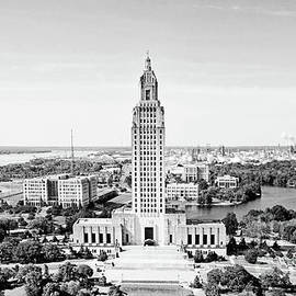 Louisiana State Capitol on the Mississippi River Baton Rouge - BW by Scott Pellegrin