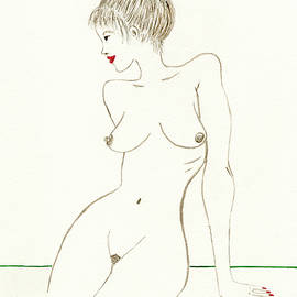 Lounging Nude Woman Illustration