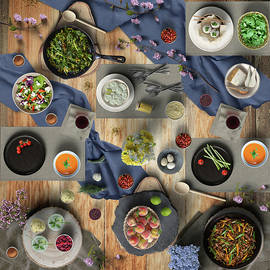 Lovely Vegetable Meat And Fruit Dinner by Johanna Hurmerinta