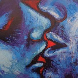 Lovers - Kiss In Blue And Red by Carmen Tyrrell