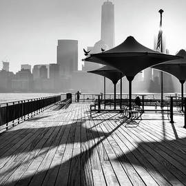 Lower Manhattan shadows in BW by Justin Foulkes