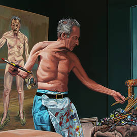 Lucian Freud At The Office Painting
