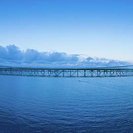 Mackinac Bridge Aerial Panorama by Steve Gadomski