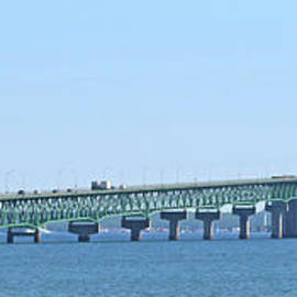 Mackinac Bridge Panorama - wide by Ann Horn