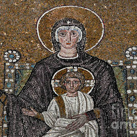 Madonna and Child on jewelled throne in Byzantine mosaic in Ostrogoth Basilica - Ravenna, Italy  by Terence Kerr