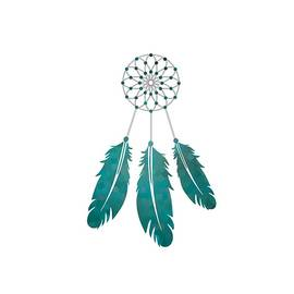 Magic Dreamcatcher with beads and feathers the color of sea water by Jeshta