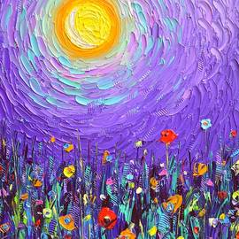 MAGIC NIGHT MEADOW BY MOONLIGHT abstract wildflowers palette knife oil painting Ana Maria Edulescu  by Ana Maria Edulescu