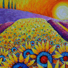 MAGIC OF PROVENCE SUNFLOWERS AND LAVENDER FIELDS landscape commissioned painting Ana Maria Edulescu by Ana Maria Edulescu