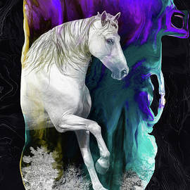 Magical Horse-marble background by Grace Iradian