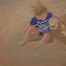 Making Puddles pastel painting by Alison A Murphy