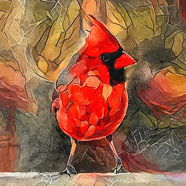 Male Cardinal Ditigal Painting by Sandi OReilly