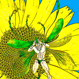 Male Fairy and Sunflower Comic Illustration 1 by Barroa Artworks