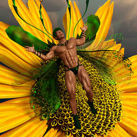 Male Fairy and Sunflower Fantasy 1 by Barroa Artworks