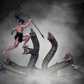 Male Warrior Against Hydra Fantasy 1 by Barroa Artworks