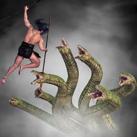 Male Warrior Against Hydra Fantasy 2 by Barroa Artworks