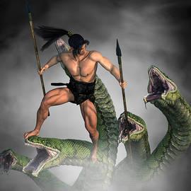 Male Warrior Against Hydra Fantasy 3 by Barroa Artworks