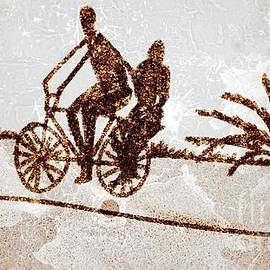 Man and woman on bycycle by Dilbag Singh