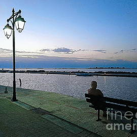 Man on bench, Lefkada, pen drawing effect  by Paul Boizot