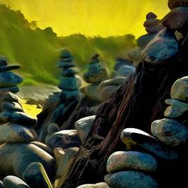 Many Stone Cairn Structures Northern Beaches Cairns Queensland by Joan Stratton