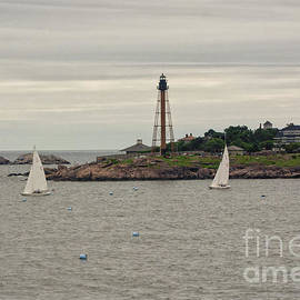 Marblehead Light House with Sailboats by Ruth H Curtis