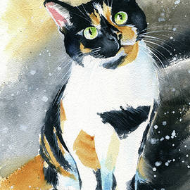 Marbles Calico Cat Painting by Dora Hathazi Mendes