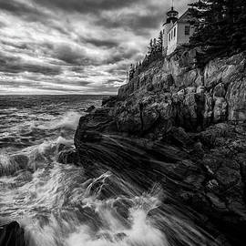 March Tides at Bass Harbor Head Light in Black and White by Kristen Wilkinson