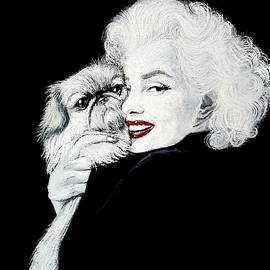 Marilyn Monroe and her dog by Piece Of HeArt