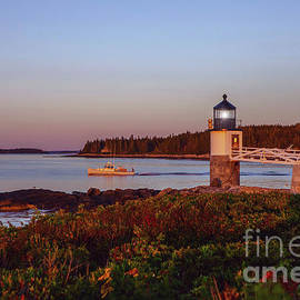 Marshall Point Lighthouse at Sunrise with Lobster Boat by Diane Diederich