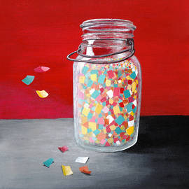 Painting of Mason Jar with Confetti - Red, Teal, Yellow and Pink Celebration Art by Ann Cloutier