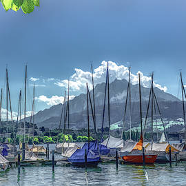 Masts of Lucerne in the Shadow of Mount Pilatus by Marcy Wielfaert