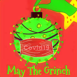 May The Grinch Steal COVID Circle Art by Diann Fisher