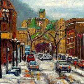 Snowy Montreal Winter Scene Painting Avenue Mcgill College City Scene Art Grace Venditti Artist by Grace Venditti