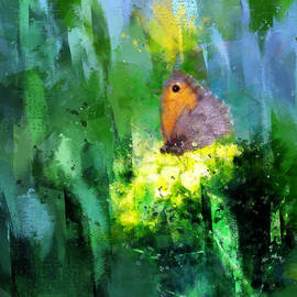 Meadow Brown Butterfly on Brassica Flower Painterly Photo Art by Western Exposure