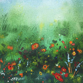 Meadow With Wildflowers Foggy Green Field Watercolor landscape  by Irina Sztukowski