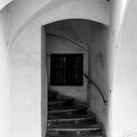 Medieval arcaded staircase of old house, Sopron, Hungary by Viktor Wallon-Hars
