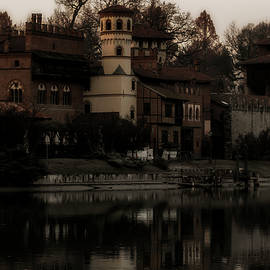 Medieval village reflected in the Po river Turin Italy by Rita Di Lalla