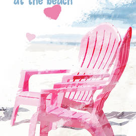 Meet Me at the Beach Chairs on Sunny Coastal Seashore Artistic Rendering by Nancy Jacobson