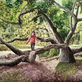 Meisha Balancing on a Tree in Calabasas by Irving Starr