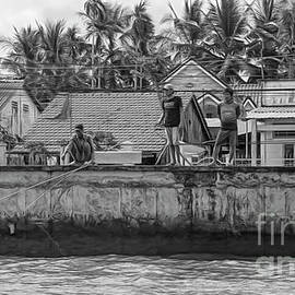 Mekong Delta Fishing Village BW by Chuck Kuhn