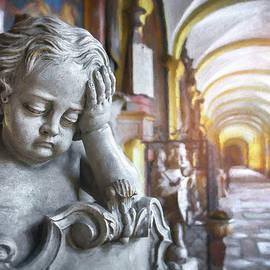 Melancholy Cherub St Sebastians Cemetery Salzburg  by Carol Japp