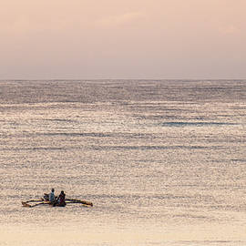 Men in Outrigger at Dawn by William Morgan