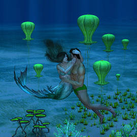 Mermaid and Her Lover in the Sea 1 by Barroa Artworks