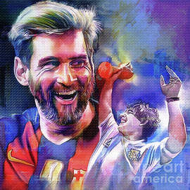Messi and Maradona football players by Gull G
