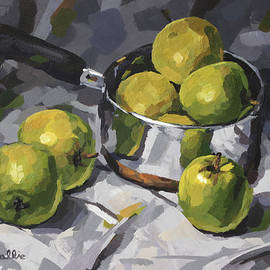 Metal Pot with Green Apples by John Wallie