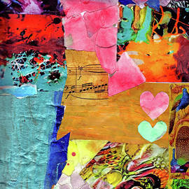 Metallic Teal Note Abstract With Coral Hearts by Genevieve Esson