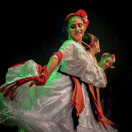 Mexican Dancer, White Costume and Folklore Mexicana by Silvijo Selman