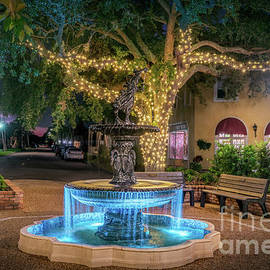 Miami Avenue Fountain at Christmas in Venice, Florida by Liesl Walsh